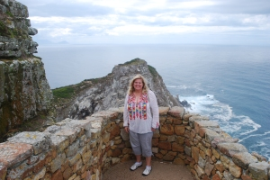 Natasha at Cape Point, the Cape of Good Hope, Africa where the Atlantic and Indian oceans meet.  The southern most point in Africa.
