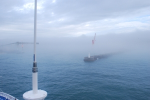 East London coming into view through the fog, aboard the Silver Wind in South Africa. ©Jean Janssen