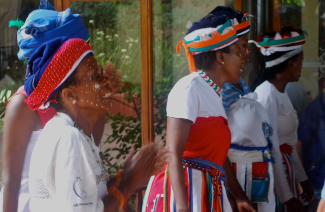 Xhosa women in native dress greeted us at our arrival at the Inkwenkwezi Game Reserve near East London, South Africa. ©Jean Janssen