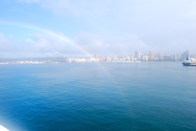 Port of Durban, the largest port in South Africa.  Note our beautiful rainbow. ©Jean Janssen