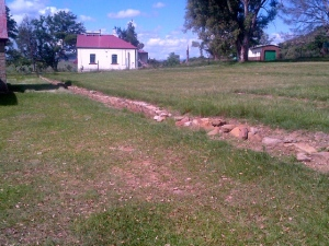 The storage room at Rorke's Drift, originally a church.  In front is the marking of where the mealy bags were placed.  These are sand bags used as defensive works.