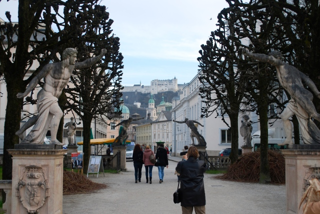 Looking back to the fortress from across the river leaving the Mirabell gardens, Salzburg. ©Jean Janssen