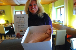 Natasha graduates from apple strudel school in Salzburg, Austria.