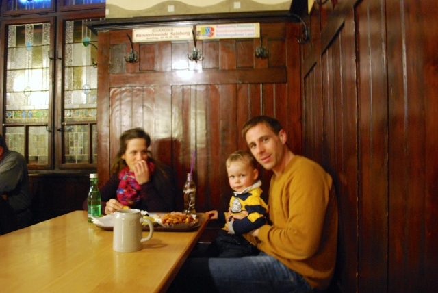 This young Austiran family sat on the end of our bench in the Augustinian Beer Hall in Salzburg, dad enjoying his beer, mom and son nonalcoholic options, and all the wonderful food.  The Austrian beer halls are considered family friendly. ©Jean Janssen