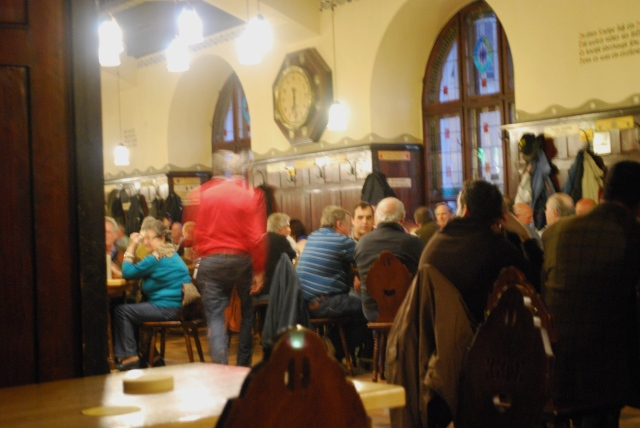 Augustian Beer Hall in Salzburg, Austria.  The locals in their element. ©Jean Janssen