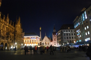 Marienplaz by night Munich, Germany