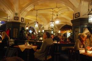 Dinner at the Ratskeller, below the town hall Munich, Germany