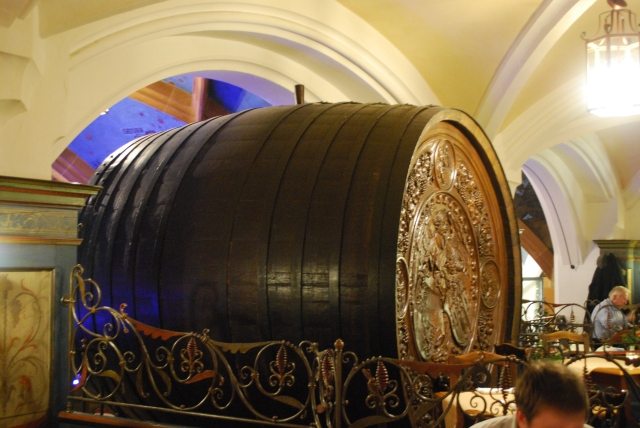 Every good German restaurant needs a giant beer barrel in the middle. The Ratskeller, Munich, Germany