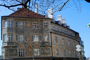 Lovely painted building in old town Munich, Germany