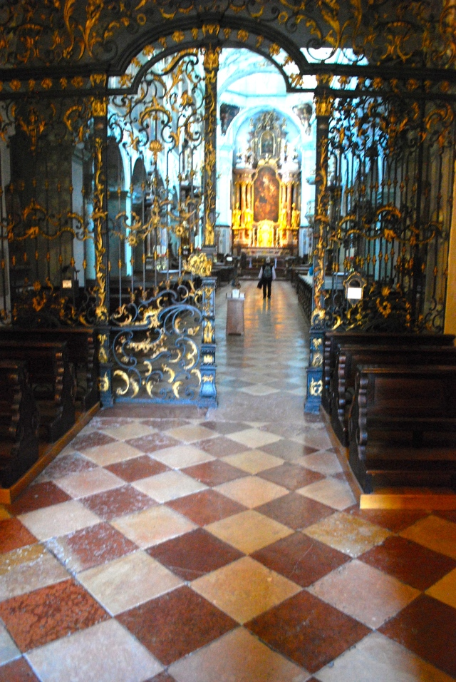 St. Peter's Monastery, Salzburg, Austria.  I love the ironwork like that that appears in the adjoining cemetery.  The floor of local marbles is the small as the one in the Schloss Leopoldskron where we are staying. ©Jean Janssen