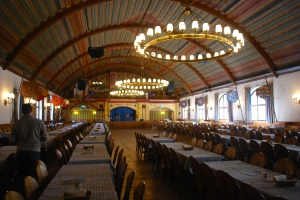 The upper floor of the Hofbrauhaus, Munich, Germany repaired after the war.  The traditional meeting room of the Nazi party in Munich. ©Jean Janssen