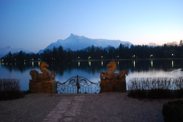 We arrived at the Schloss Leopoldskron in time to join the cocktail party on the terrace.  Sound of Music fans will recognize this gate, lake, and view of the Alps from the movie. ©Jean Janssen