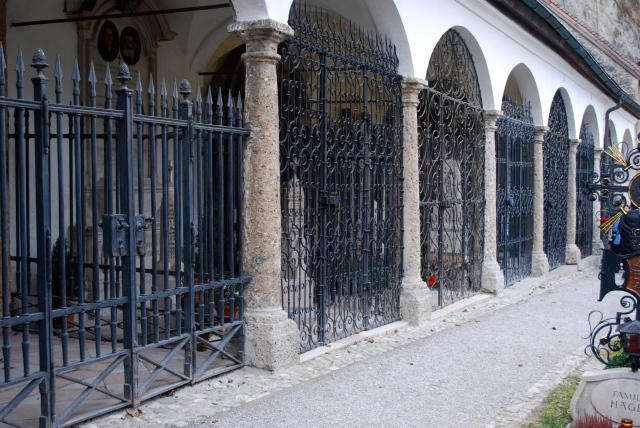 Movie Inspiration.  The gated tombs in the cemetery at St. Peter's, Salzburg. ©Jean Janssen