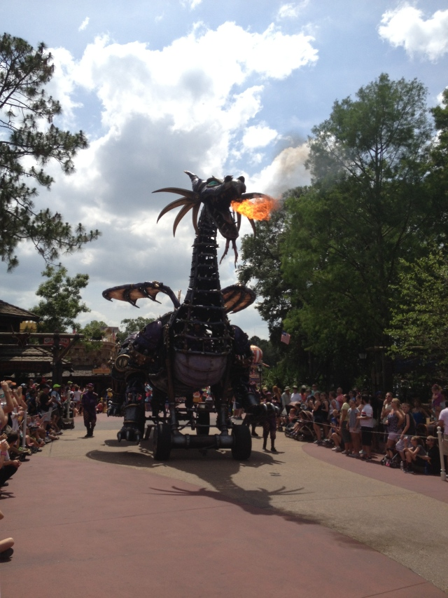 A fire breathing Maleficent is one of the highlights of the new Festival of Fantasy Parade at the Magic Kingdom. ©Jean Janssen