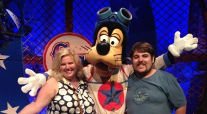 Rocky and I with Barnstormer Goofy in the Carnival Tent in the new Fantasyland, WDW.