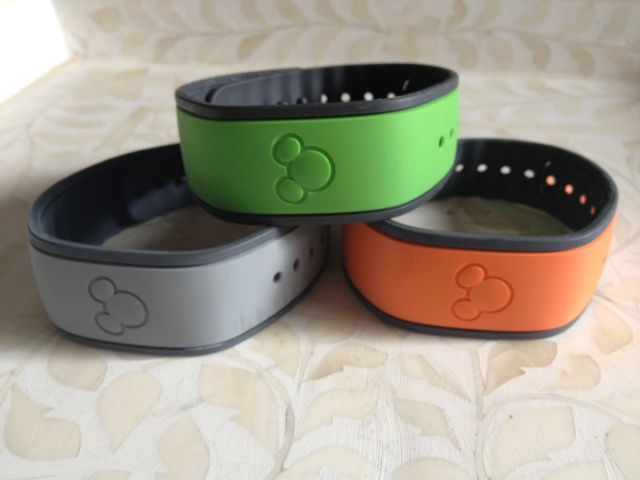 Disney's new Magic Bands.  Resort guests are given gray ones with their name inside on arrival.  Resort guests and Annual Pass Holders can also select color bands on-line at www.mydisneyexperience.com.  The bands are free to resort guests.  You can also purchase the bands in the park. ©Jean Janssen