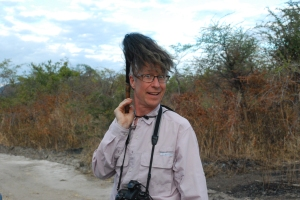 "©Jean Janssen  Our fearless leader, Reed Hoffmann. The new ""do"" comes courtesy of a fly swatter used to rid ourselves of the tse tse flies in Ruaha National Park"