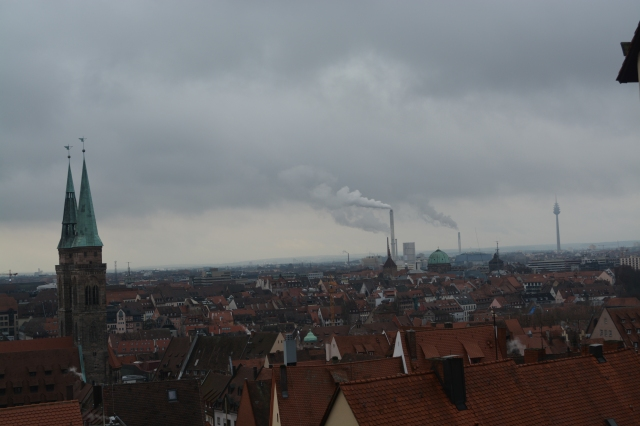 Skyline of Nuremberg from the castle.  Note the industrial smokestacks, communications tower, and the church spires-symbols of the city past and present ©Jean Janssen