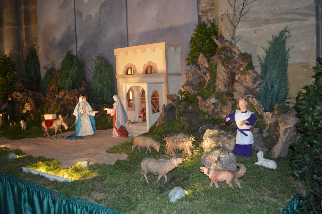 Cathedral Nativity Scene.  This week Elizabeth greets Mary.  The scene changes weekly as Advent progresses.  Bamberg, Germany ©Jean Janssen