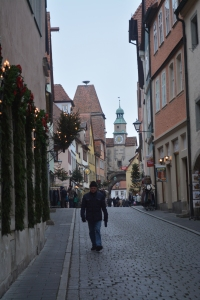 View down a street in Rothenburg, Germany toward Roder Arch/Markus Tower, part of the first fortifications from the 1200s. ©Jean Janssen