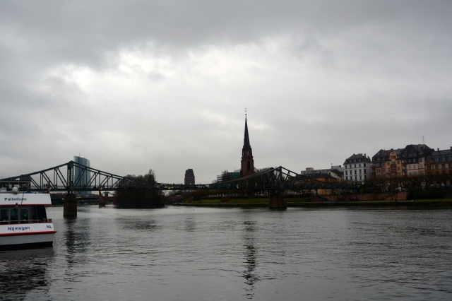 Along the river in Frankfurt Germany where Uniworld's River Queen is docked. ©Jean Janssen