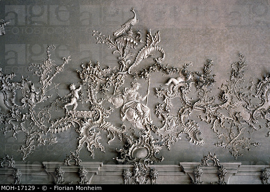 Stucco Dragon by Antonio Bossi on the ceiling of Weisser Saal, The Residence, Wurzburg, Germany