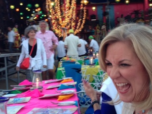 Janie gets into the spirit at Fiesta Night.--photo by Terry Baca.