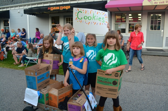Troop from Shore to Shore Council selling girl scout cookies at the summer concert series, Rockford, Michigan ©Jean Janssen