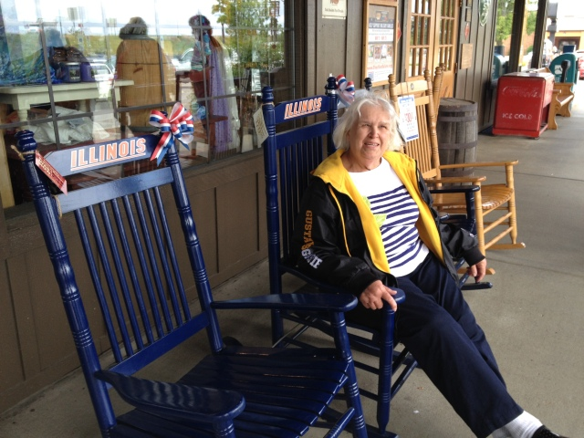 Mom enjoying the porch during our lunch stop in Marion, Illinois. ©Jean Janssen