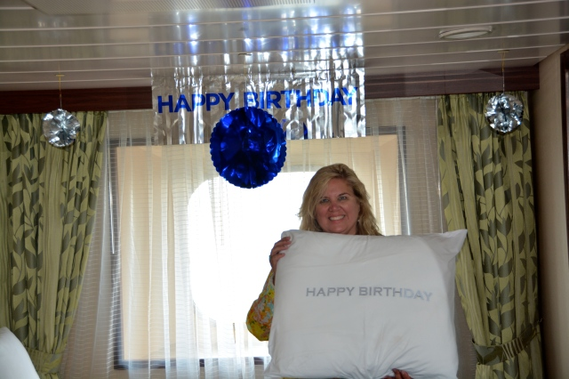 My cabin stewards on the Azamara Quest decorated our cabin for my birthday. ©Jean Janssen
