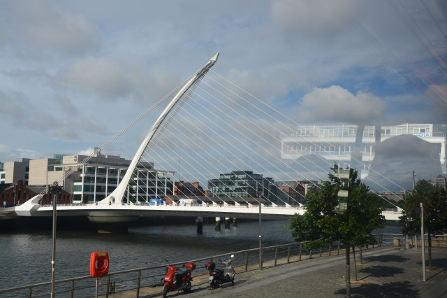 Harp-shaped bridge in Dublin, Ireland. I was surprised to learn that the harp, not the shamrock, is the symbol of Ireland. Don't believe me? Check out the Guinness label ©Jean Janssen