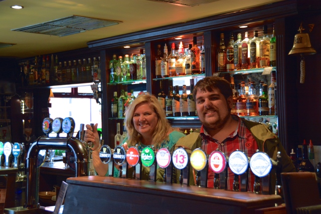 Natasha and Rocky bar tending in an Irish Pub, The Abbey Tavern, Howth on Dublin Bay, Ireland.