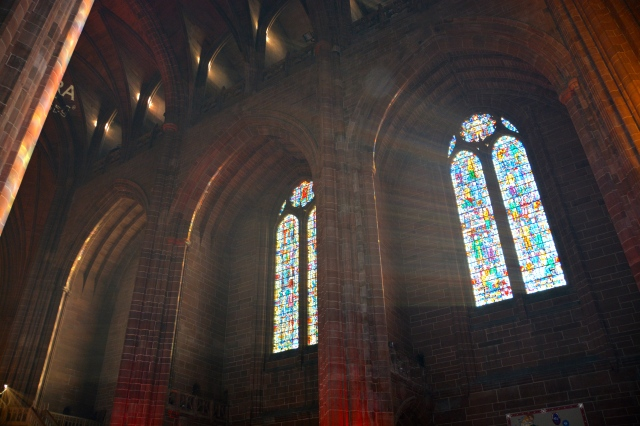 Light streaming through the stained-glass windows of the Liverpool Cathedral. The largest Anglican Cathedral and 5th largest Cathedral in the world ©Jean Janssen