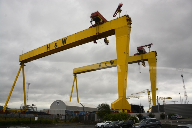 These two gigantic building cranes in the Belfast Docklands are affectionately called Sampson and Goliath.  They have protected status as national landmarks. ©Jean Janssen
