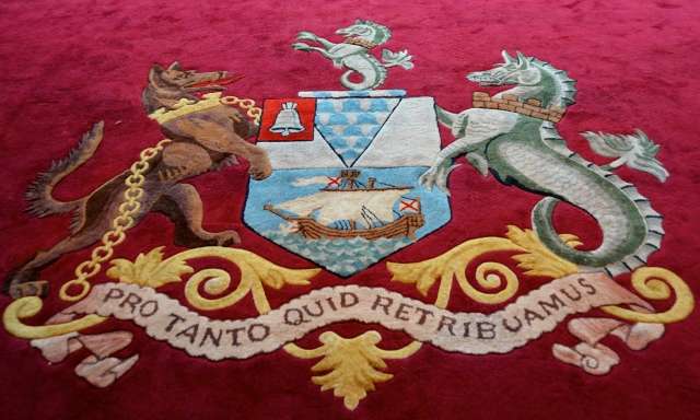 The Belfast City Crest was on the carpets of the Grand Staircase and the meeting rooms of the Belfast City Hall, Northern Ireland ©Jean Janssen