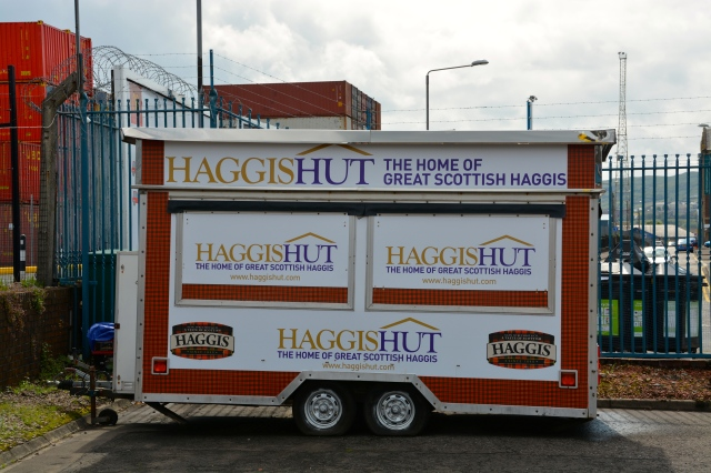 This was the first thing we saw when we got off the boat for our first port in Scotland, the Haggis Hut.  ©Jean Janssen