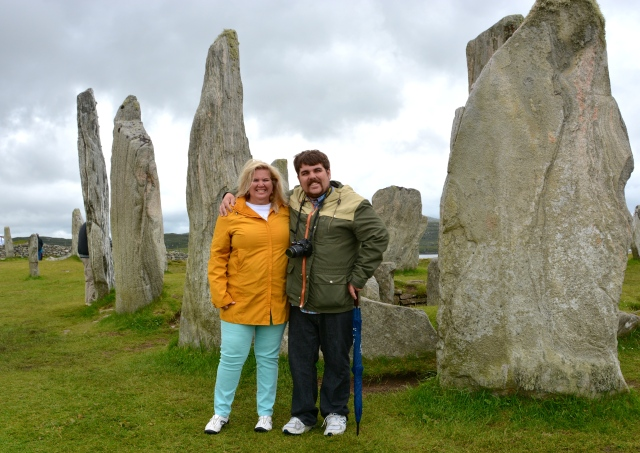 Natasha and Rocky at the Calanais Stone Circle, Isle of Lewis, Western Isles, Scotland