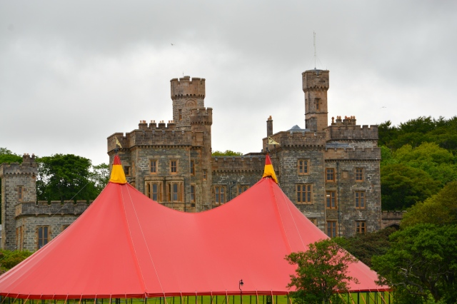 Lews Castel, Stornoway, Isle of Lewis Scotland.  Red music festival tent is set up in the foreground. ©Jean Janssen