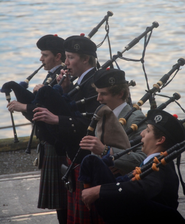 Bagpipes on the dock at Invergordon, Scotland ©Jean Janssen