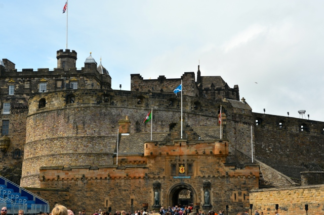 Entrance to Edinburgh Castle.  You can just see the edge of the stadium seating in blue on the left.   ©Jean Janssen