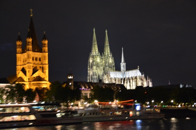 Cologne Cathedral as viewed from the Rhine at night. ©Jean Janssen