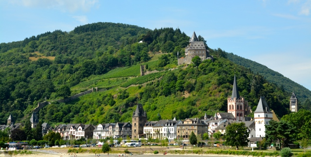 Castle along the Rhine, Germany. Note the amazing city walls on the hillside. ©Jean Janssen