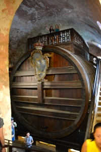 World's Largest Wine Barrel, Heidelberg Castle, Germany. The tourists below and above give a perspective on the barrel's size. ©Jean Janssen