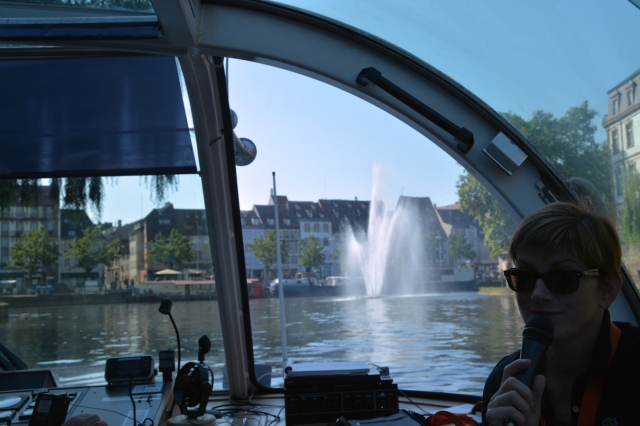 We had great seats at the front of the canal boat just behind the guide in Strasbourg, France ©Jean Janssen