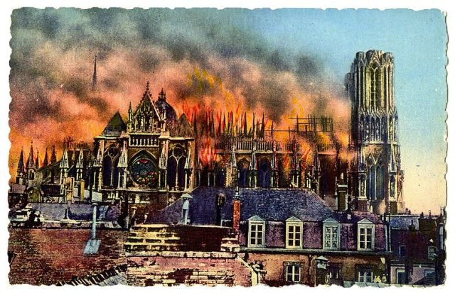 789px-Reims_Cathedral_burning_during_World_War_I